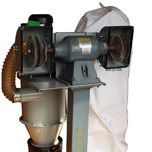 Integrated Dust Collector mounted to Grinder/Buffer